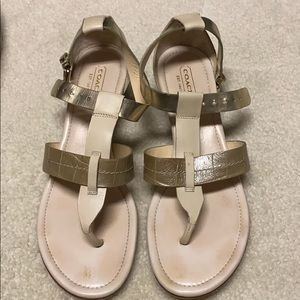 Coach gold and cream sandals size 8.5